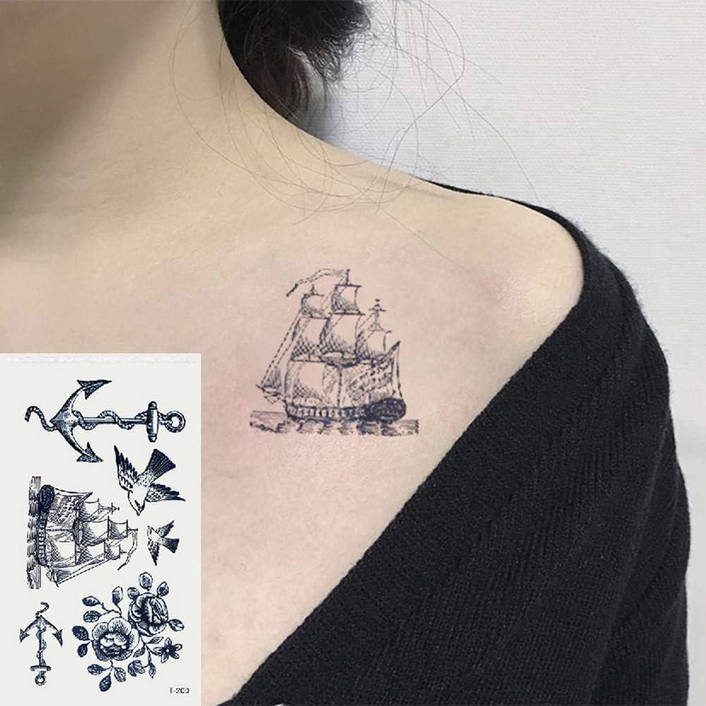 Oottati 2 Hojas Pequeño Lindo Tatuaje Temporal Tattoo Ancla De ...