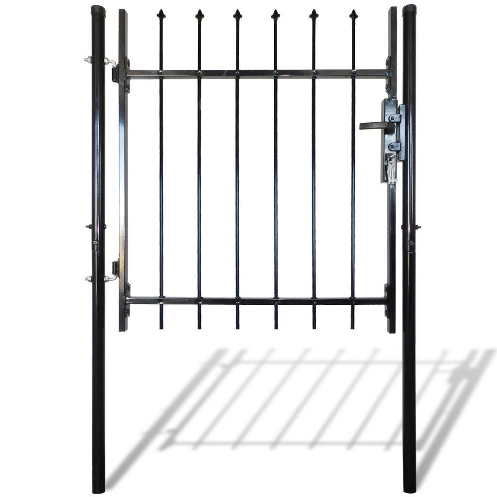 Festnight Portillon de Jardin, Patio portillon Cloture Exterieur Portail Porte Simple en Acier Noir 100 x 100 cm