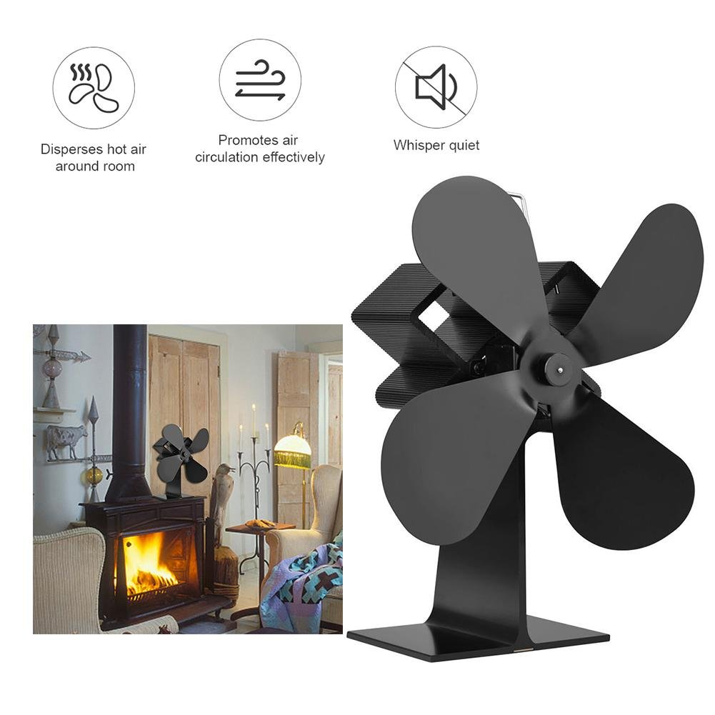 Alian Heat Powered Stove Fan, 4-blade Wood Stove Fans Aluminium Silent Eco-Friendly for Wood Log Burner Fireplace
