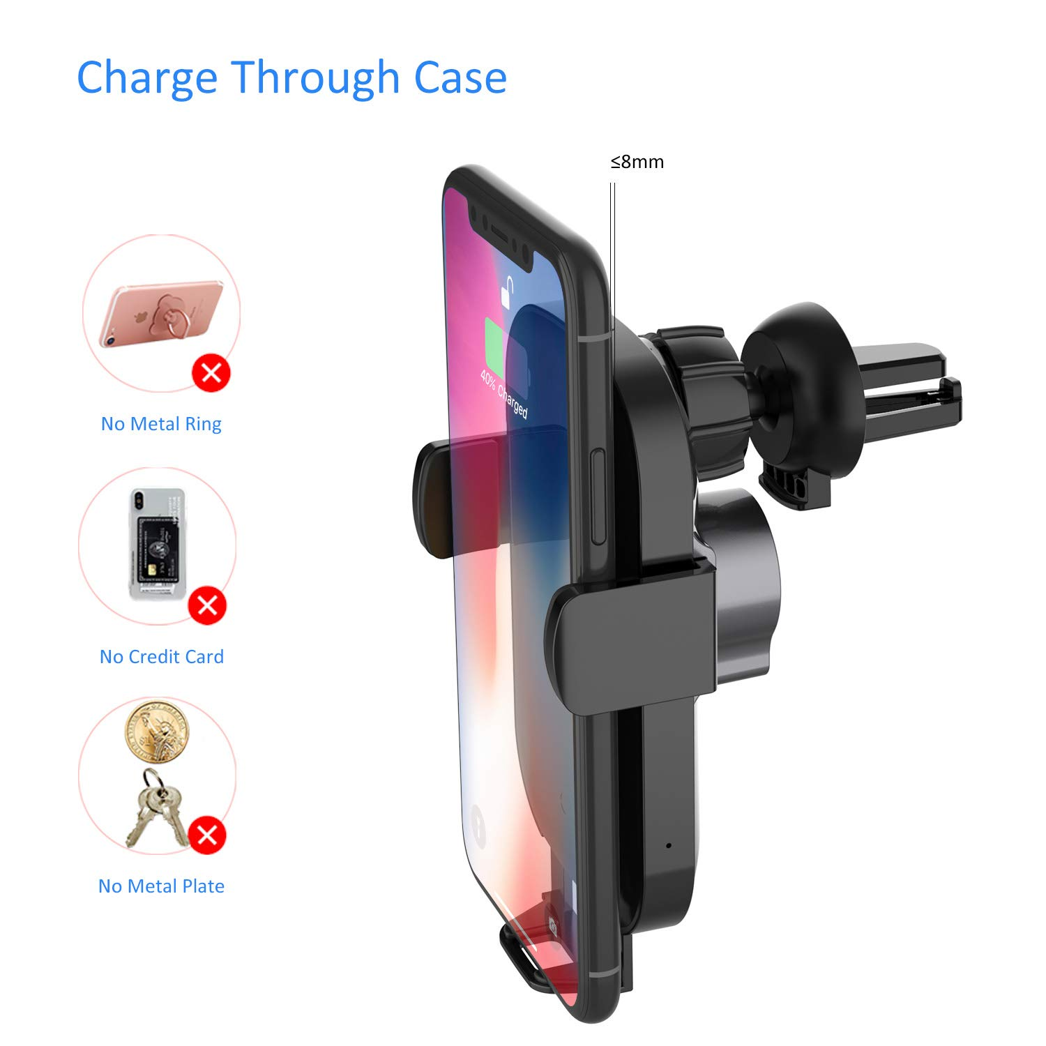 Samsung S20|S20+|S20U|S10|S10+|S9|Note10 Askai Wireless Car Charger Mount,10W Qi Fast Charging Auto-Clamping Mount,Air Vent Dashboard Phone Holder Compatible with iPhone 11|11 Pro|Max|Xs|Xs Max|X|XR