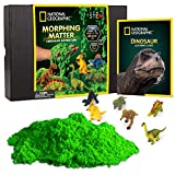 NATIONAL GEOGRAPHIC Morphing Matter Dinosaur Kit - 3 Cups of Morphing Matter, 6 Dinosaur Figures, Package Converts Into Play Setting, Astounding Kinetic Sensory Activity for Kids