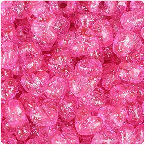 (BeadTin Pink Sparkle 12mm Heart Pony Beads (250pcs))