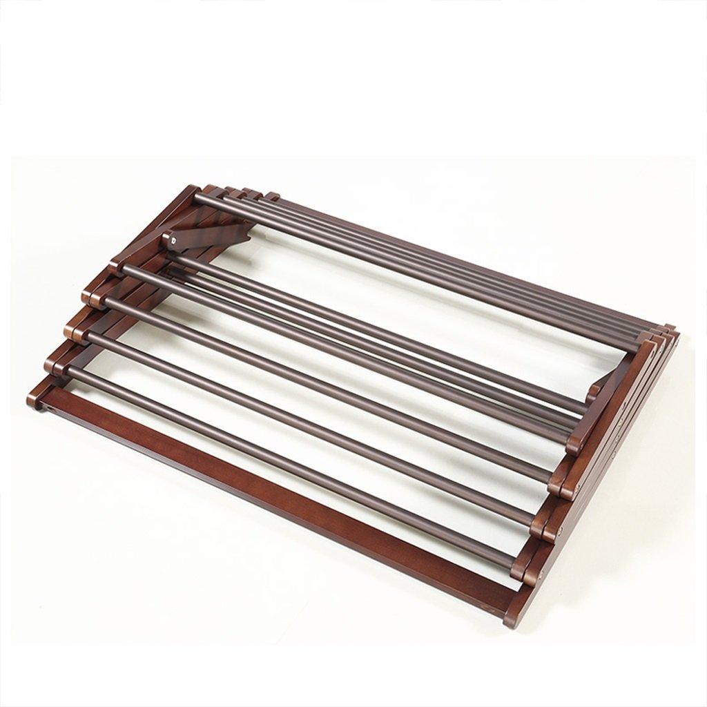 折りたたみ式木材乾燥ラック、床用ダブルコートラック、バルコニーベッドルームハンガー、L80cm * W53cm * H129cm、耐荷重18kg B07BQXMC1R