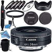 Canon EF-S 24mm f/2.8 STM Lens 9522B002 + 52mm Macro Close Up Kit + 52mm UV Filter + Lens Cleaning Kit + Lens Pouch + 52mm Tulip Lens Hood + Fibercloth Bundle