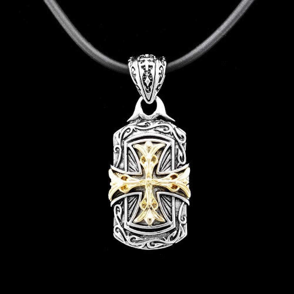 Florwesr El Oro Blanco Plateado Colgante De La Cruz con La Vendimia Collar De Cuero Negro De Los Hombres De La Correa