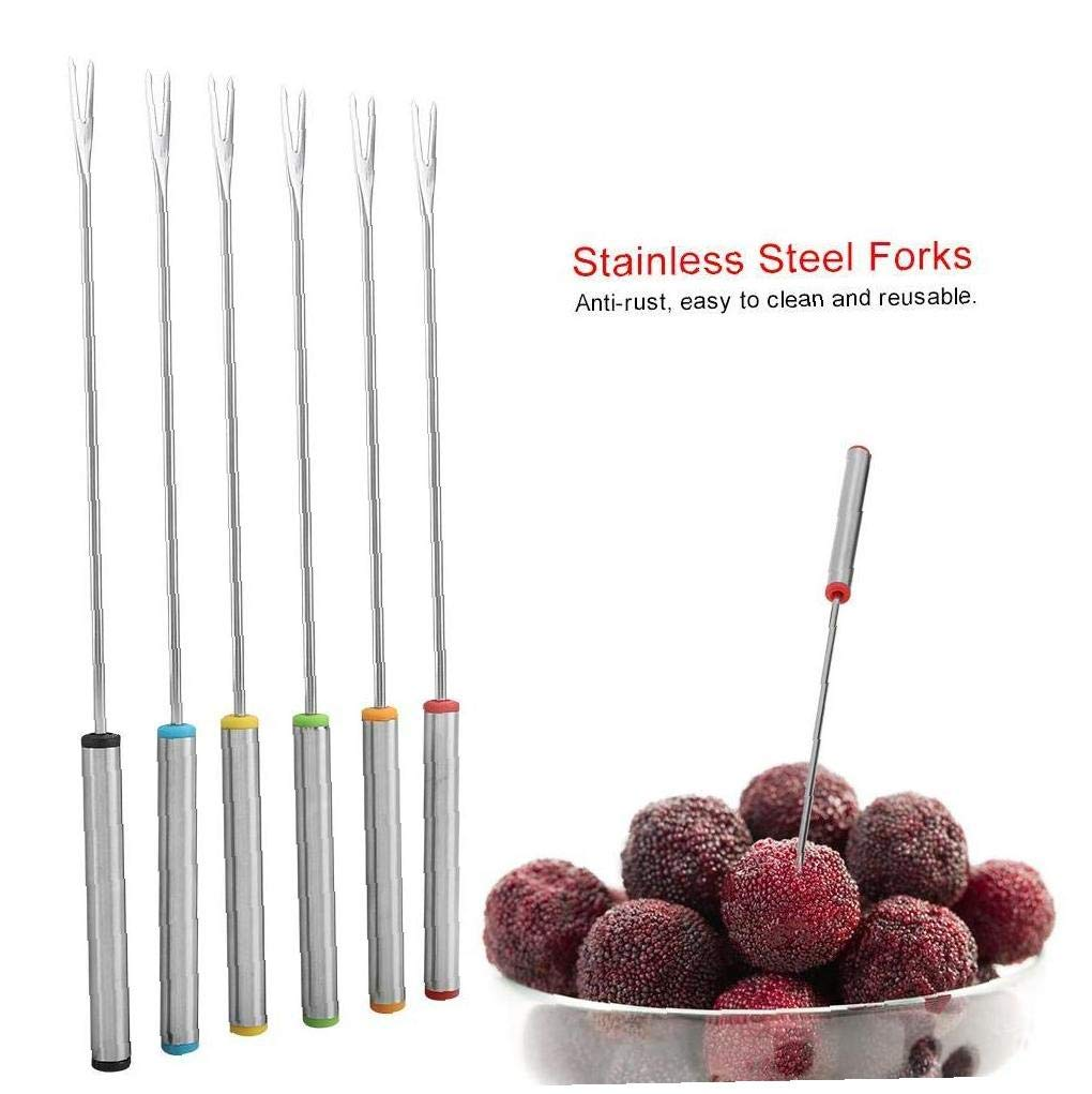 Angoter 6PCS tavola dellAcciaio Inossidabile Fondue Forks Bosco Dessert Forks Cucina Strumenti Bar