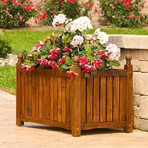 DMC Products 70513 28-Inch Lexington Rectangle Solid Wood Planter, Teak Oil