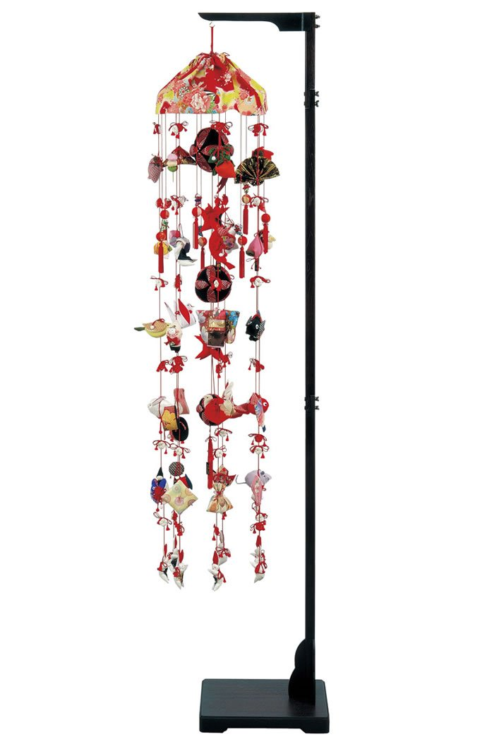 健明 つるし飾り つるし雛 正絹 332353 高さ216cm スタンド付 吊るし雛 吊るし毬 ひな人形 雛人形 お祝い品   B019IMFNBG