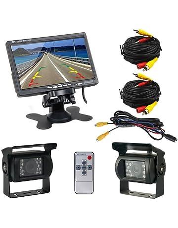 Podofo® Cámaras de Marcha Atrás 7 Pulgadas TFT LCD Monitor + 2 x Cámaras de