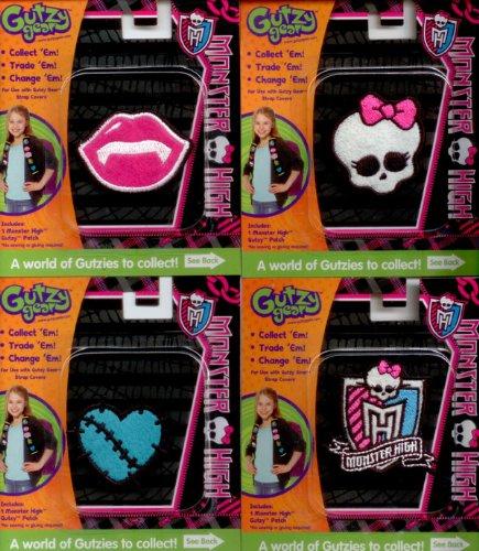 Frankie Monsters High (Monster High Patches 4 Pack :Draculaura's Lips, Frankie's Heart, Monster High Academy Logo, Monster High Skullette)
