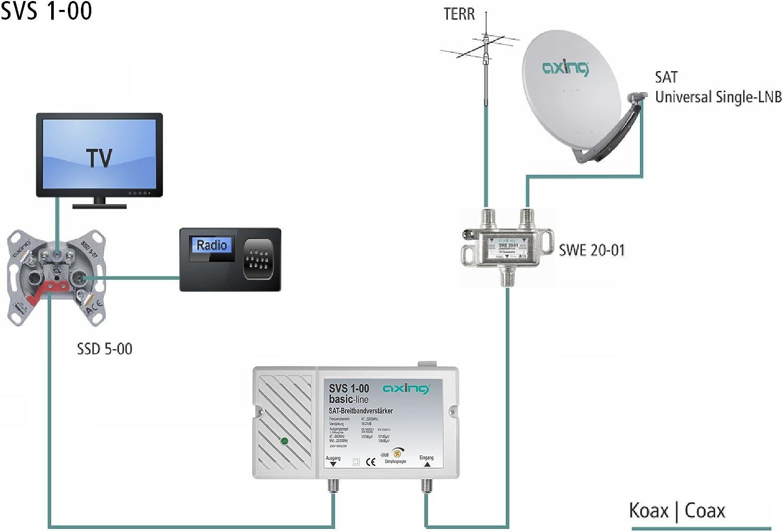 Axing SVS 1-00 - Amplificador de señal satélite (25 dB, 47-2200 MHz)
