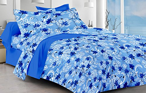 Ahmedabad Cotton Comfort 160 TC Cotton Single Bedsheet with Pillow Cover – Blue