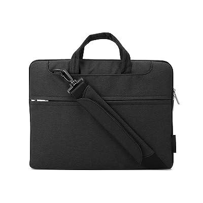 Jia Hu 1Pc Canvas Laptop Briefcase Portfolio Bag Tablet Notebook Organizer Carry with Strap Black