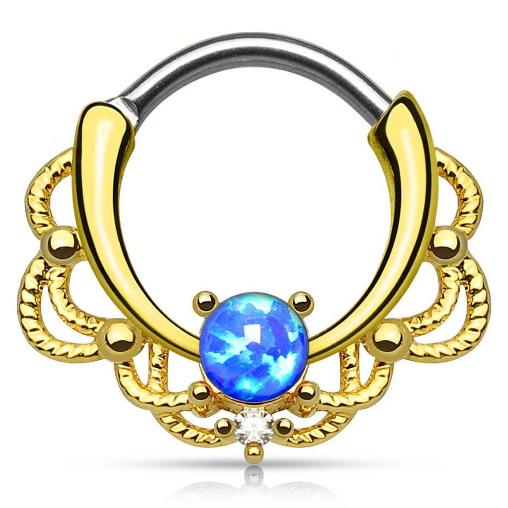 Gold Plated Round Bar Septum Clicker Ring 316L Surgical Steel Fifth Cue Lacey Single Opal Set 14Kt