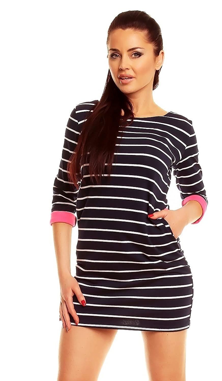 * Capri Moda * Minivestido a rayas puños bolsillos contraste - para mujer - 740