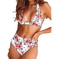 Bikini de Mujer Conjunto de 2 Piezas de Cuello Halter Traje de Baño de Estampado Floral de Cintura Alta para el Verano