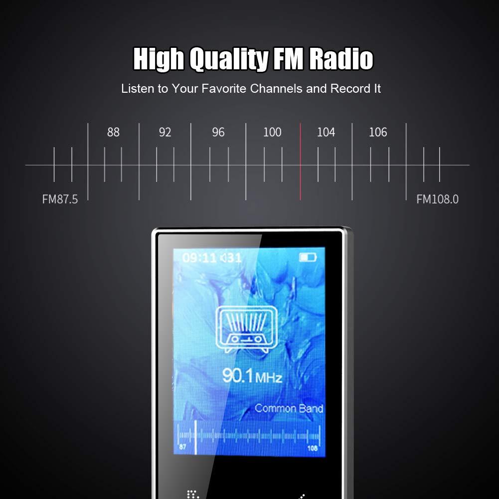 16GB Reproductor de M/úsica con Pantalla TFT de 2.4 Pulgadas MP3 Player con Radio FM,Grabarora de Voz,Imagen,E-Book Soporte hasta 128 GB TF Tarjeta Reproductor MP3 MP4 Bluetooth 4.2