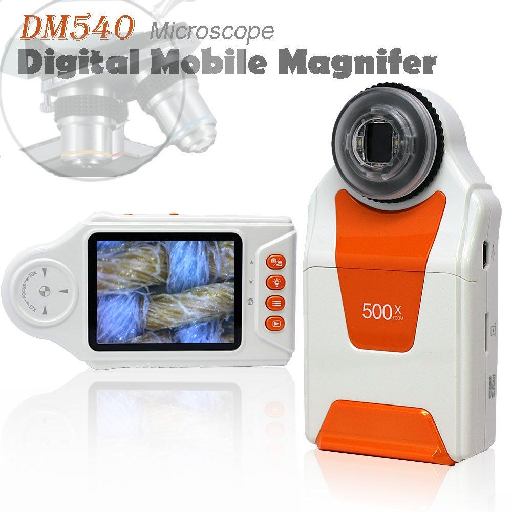 "Indigi DM500-05 5MP Camera, Pocket Sized, 10x-500x Digital Microscope, 2.7"", White/Orange, Handheld"