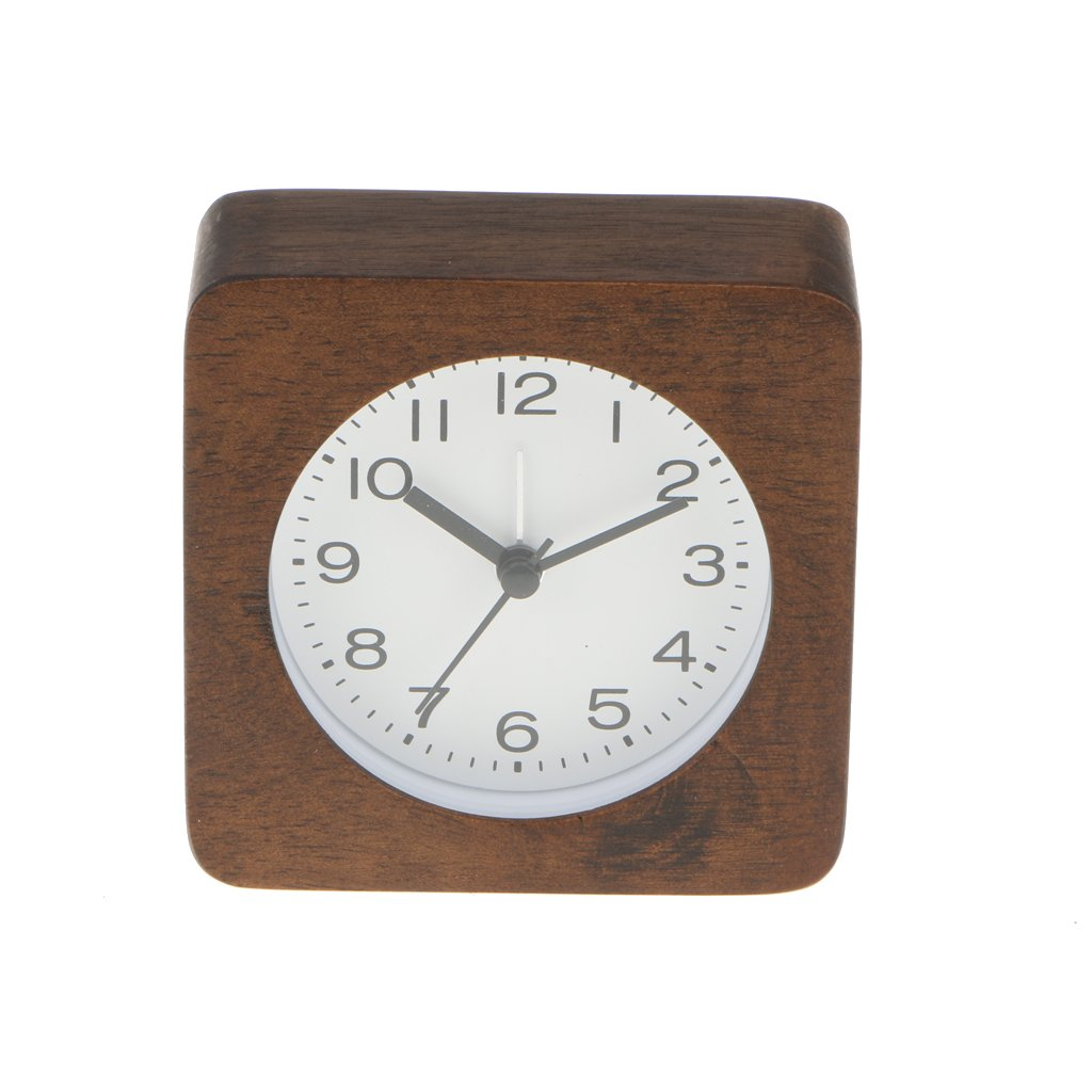 Fityle Bamboo Alarm Clock Number Desk Bed Clocks Kids Bedroom with Snooze Night light - brown, Square