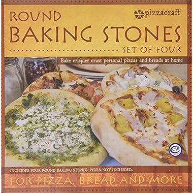 Pizzacraft PC0003 8  Round Ceramic Mini Baking/Pizza Stones, Set of 4