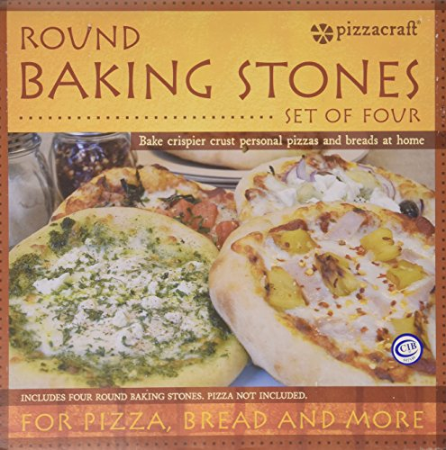 Pizzacraft PC0003 8'' Round Ceramic Mini Baking/Pizza Stones, Set of 4 by Pizzacraft