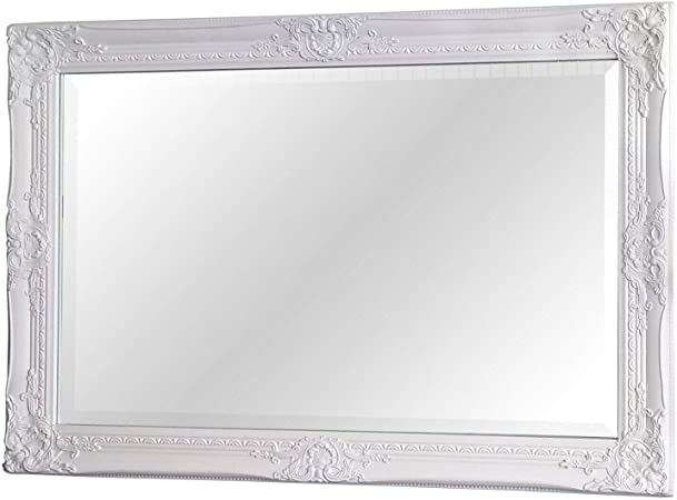 Kingsbury Antique White Ornate Overmantle Rectangle Wall Mirror 90cm X 60cm Amazon Co Uk Kitchen Home