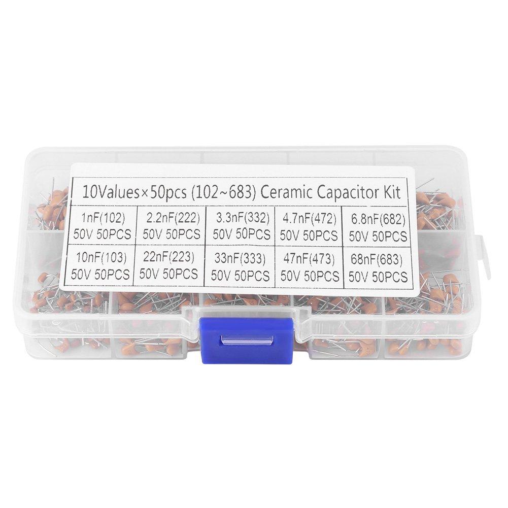 -68 NF Akozon 500pcs Kit Surtido de Condensadores Electrol/íticos 1NF 50V 102 683