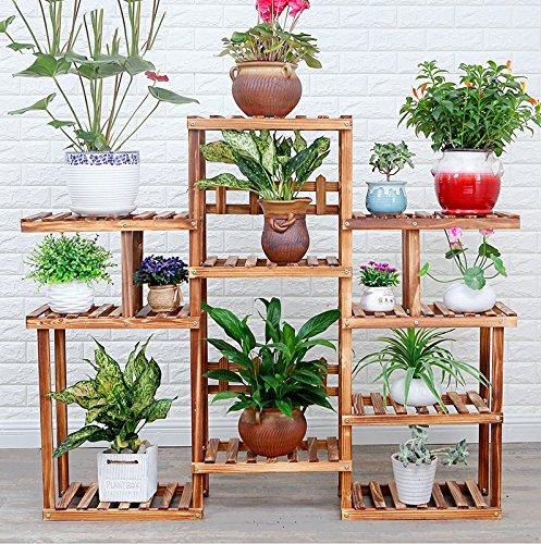 Multi-layer solid wood flower floor floor wood flower shelves (131 114CM) ( Color : Wood ) by Flower racks