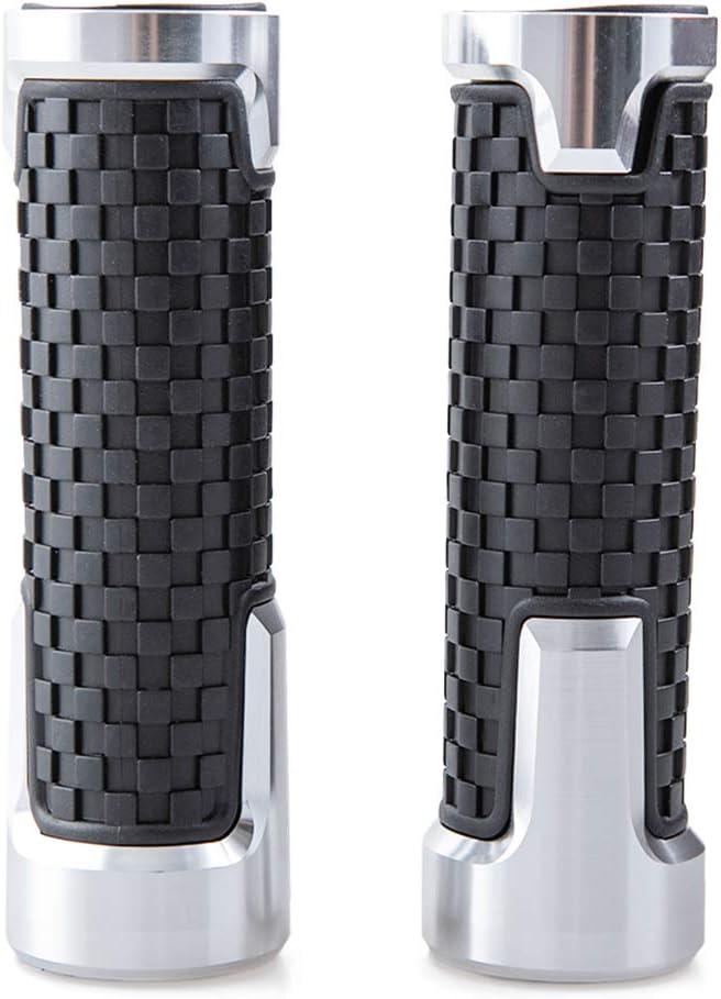 Manopole Moto in Gomma Antiscivolo da 22 mm 7//8 Argento per Manubri Quad Scooter 24 mm Manopole Universali per Manubrio Moto 1