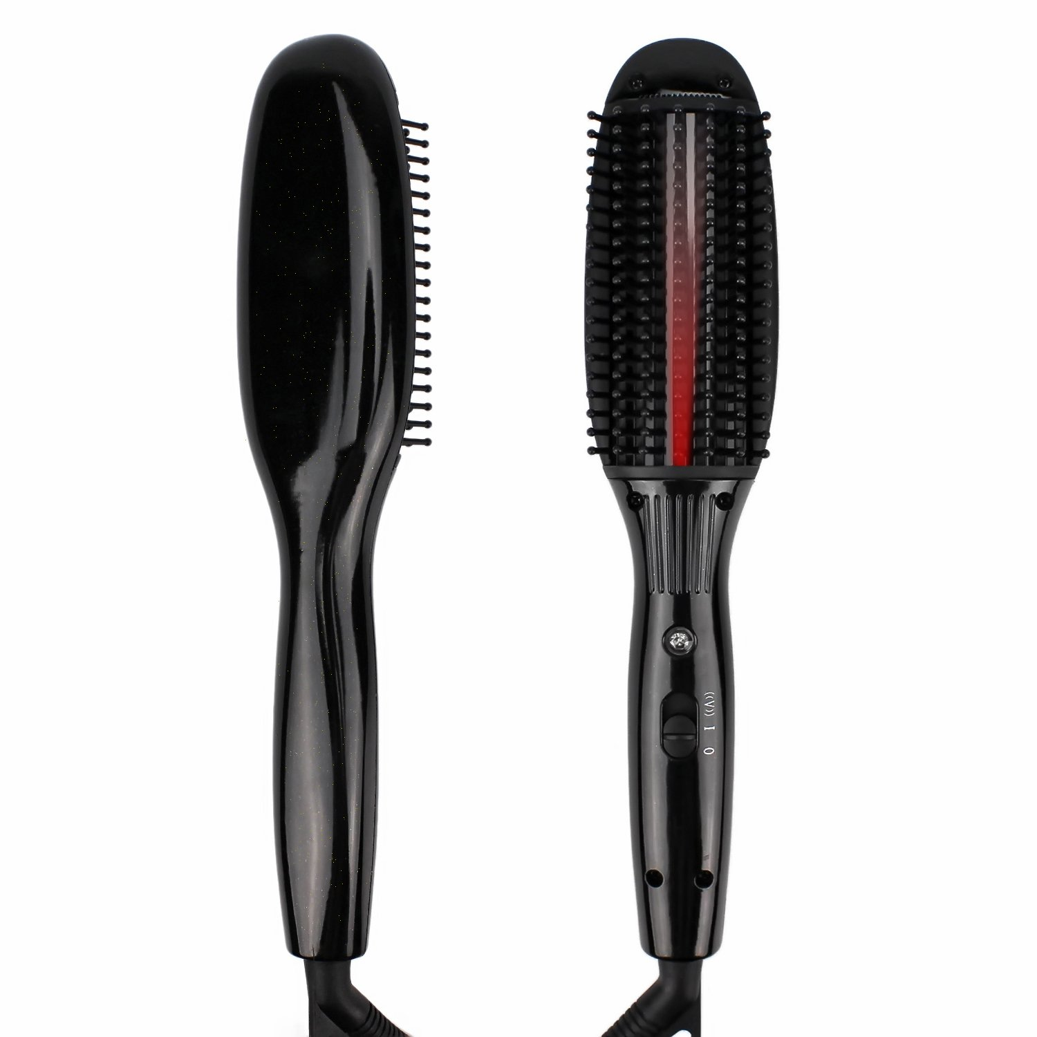 Emovendo Hot Air Vibrating Hair Straightening Brush - Jet Black
