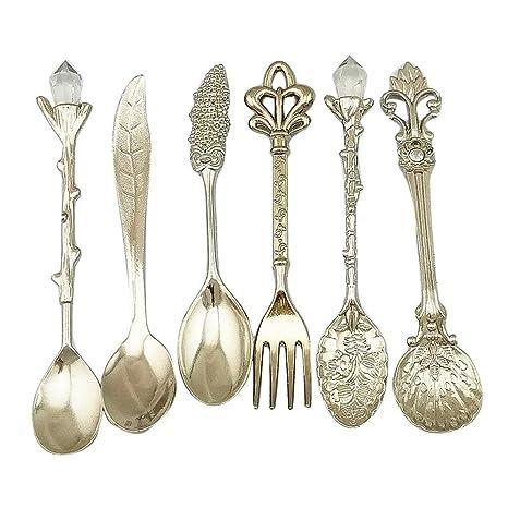 AOLVO Juego de cucharas de café y Tenedor, cucharas de Postre, cucharas de Postre
