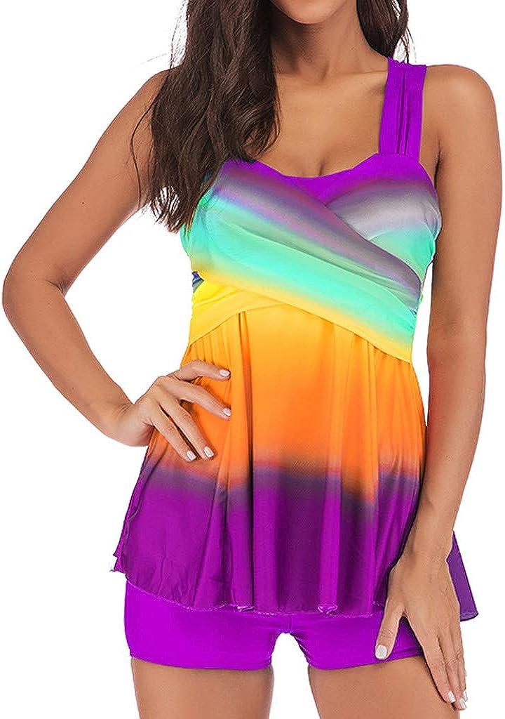 Halter Plus Size Swimwear National Print Tankini Swimjupmsuit Beachwear Padded Womens Tummy Control Swimsuit