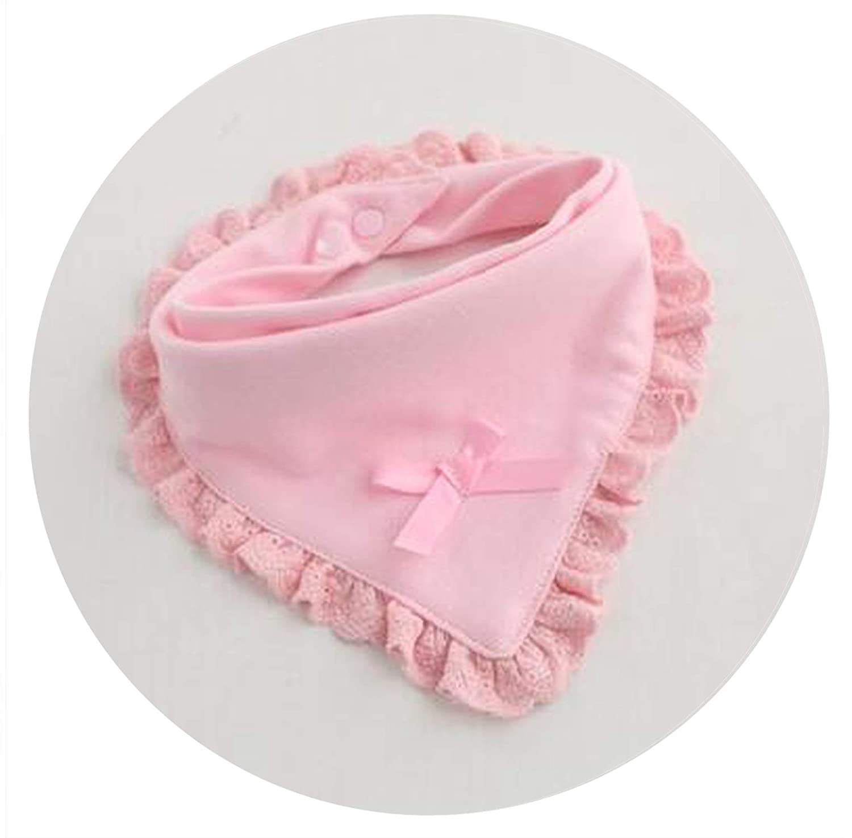 Baby Bibs Burp Cotton Lace Bow Pink and White Bib Girls Lovely Cute Bib one