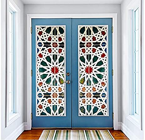 Merveilleux Color Kaleidoscope Glass Door Stickers Self   Adhesive Waterproof Door  Stickers