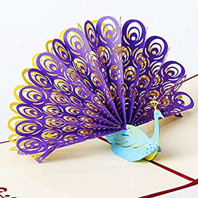 Paper Spiritz Peacock Pop up Mother's Day Cards 3D Greeting Cards Shows Its Tail with Envelope Laser Cut Handmade Kirigami Papercraft Gift Best Wishes Thank You Birthday Post Card (Pack of 1)