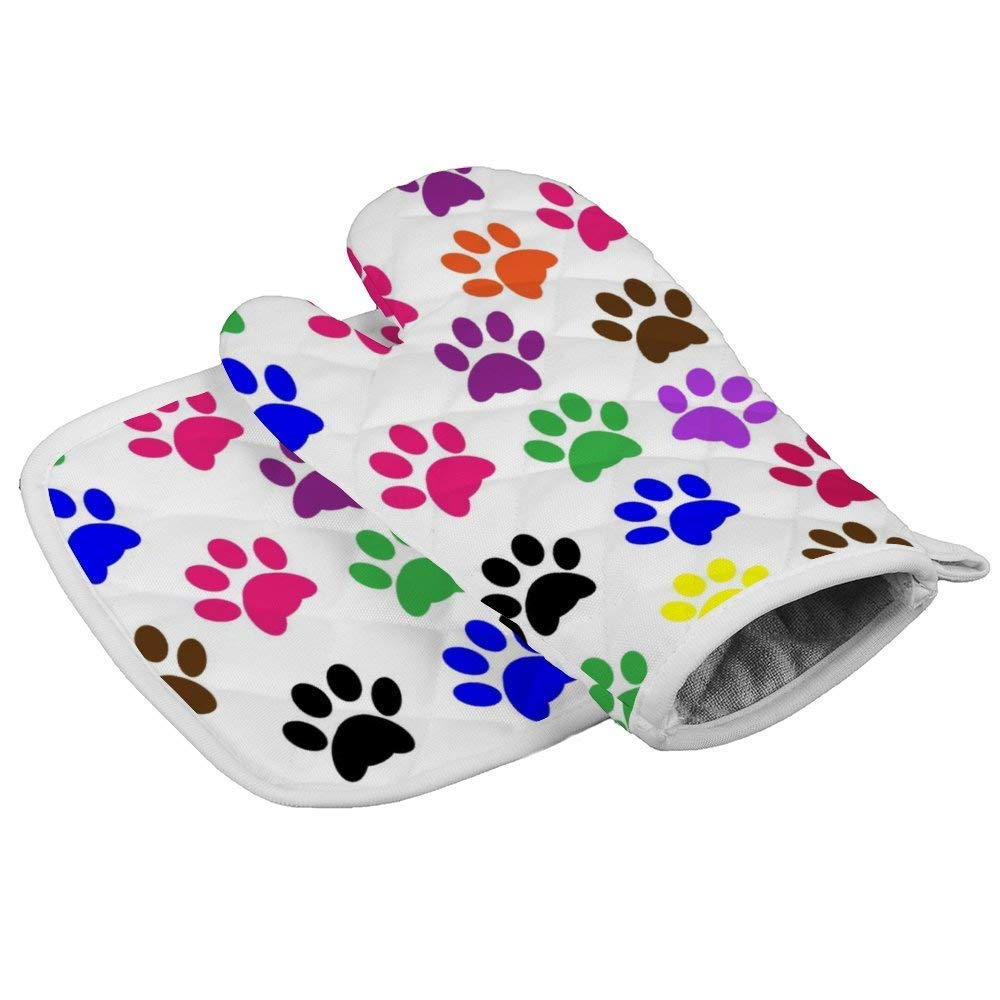 Lmlfes Colorful Dog Paw Prints Durable Oven Gloves Heat Resistant Kitchen Insulated Gloves + Insulated Square mat Insulated Gloves Combination Colorful Dog Paw Prints