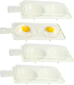 Supkiir Egg Poacher, 4 Pack 2 Cavity Egg Poacher Pan Egg Cooker Cookware Poached Egg Maker, Microwave Dishwasher Safe Non-Stick