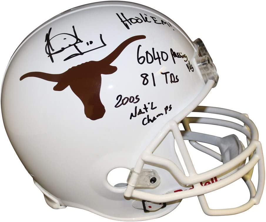 Certified Authentic Vince Young Autographed Signed Texas Longhorns White Riddell Replica Full Size Helmet Stats