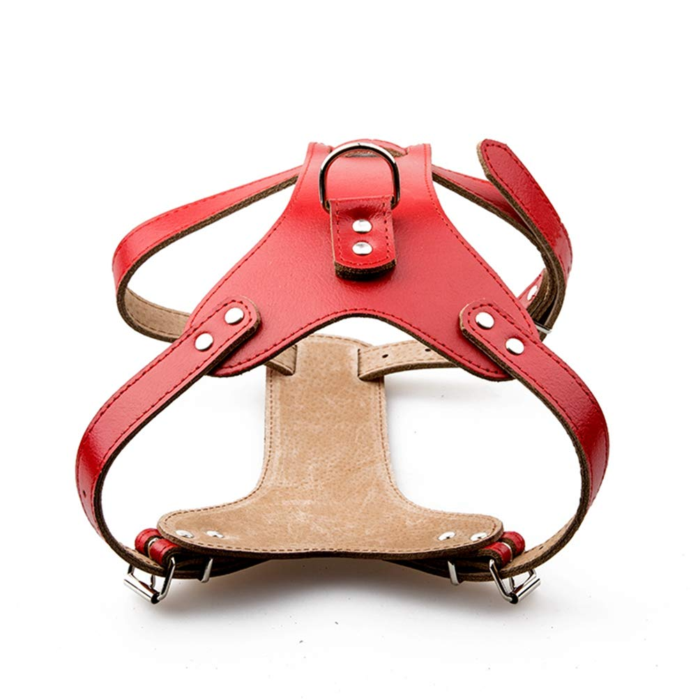 Red M red M Jim Hugh Pet Products Genuine Leather Dog Harness for Small Medium Large Pets Professional K9 Dog Collar Hand Chest Straps M