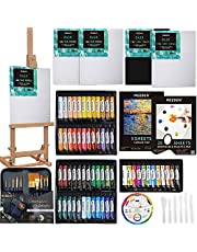 MEEDEN 85-Piece Acrylic Painting Kit with Tabletop Easel, 60 x 22ML Acrylic Paints Set Contain 12 Metallic Acrylic Paints, 5 Canvas and All Complete Art Supplies for Beginners, Art Lovers, Teens