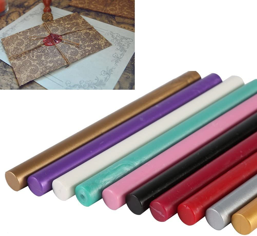 5 PCS Sealing Wax Sticks Multi-Color Cord Wick Sealing Wax For Postage Letter Retro Vintage Wax Seal Stamp Color : Gold