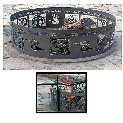 PD Metals Steel Campfire Fire Ring Native Design - Unpainted Design - Unpainted - with Cooking Grill - Extra Large 60 d x 12 h Plus Free eGuide by PD Metals