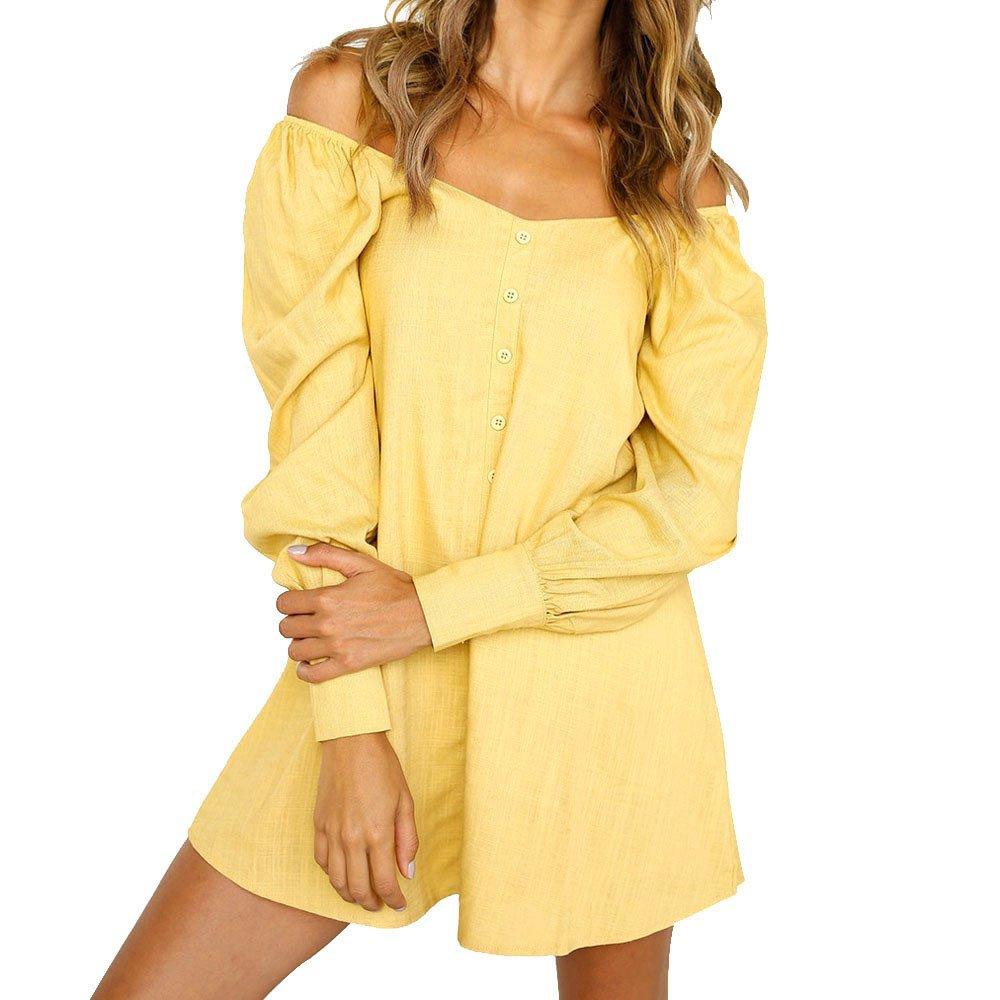 Overmal Womens Ladies Long Sleeve Off Shoulder Loose Button Short Mini Dress