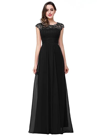 Misshow Long Evening Dress For Weddings Elegant and A Line Round Neck Sleeveless Back Closure Size