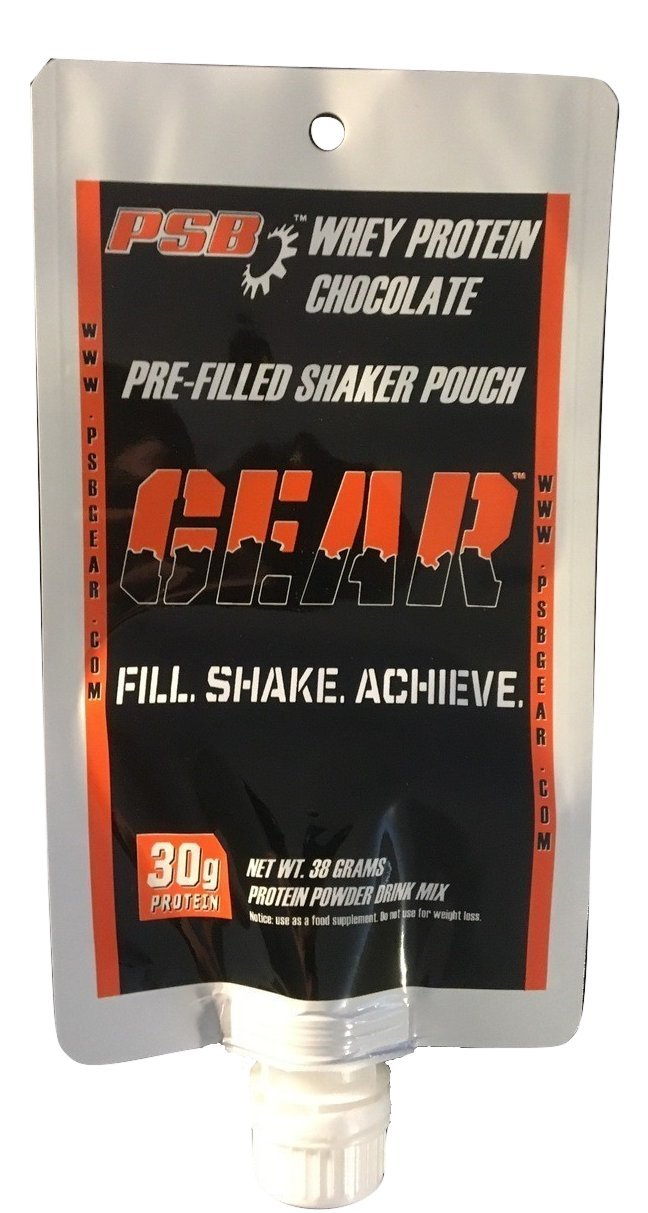 PSB GEAR - WHEY PROTEIN. PRE-FILLED SHAKER POUCH. CASE OF 24 - CHOCOLATE. Add water, shake, and drink. 30 grams of protein.