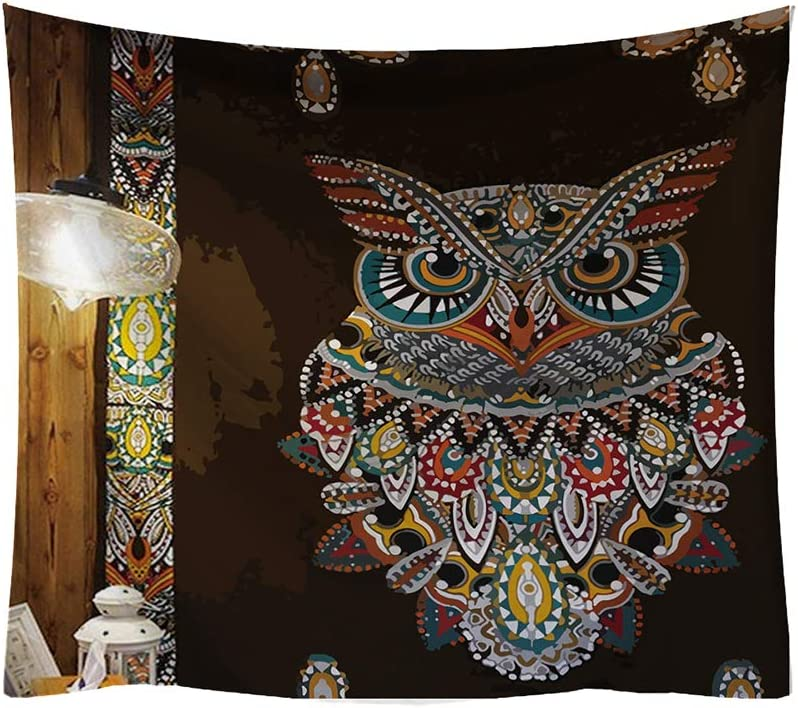BOYOUTH Tapestry Wall Hanging,Lights and Bohemian Style Colorful Owl Stickers Pattern Digital Print Wall Tapestry for Living Room Bedroom Dorm Decor,59.1 Inch by 51.2 Inch