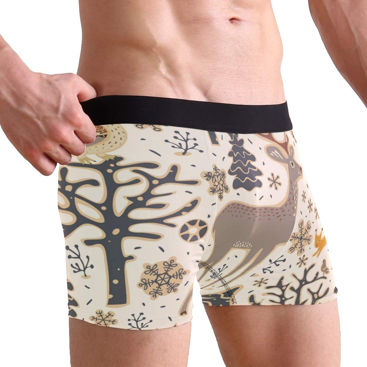Pack of 2 Christmas Elk Deer Fox Owl Mens Underwear Soft Polyester Boxer Brief Birthday Christmas Gifts for Men Boyfriend Teen Boys Children Friends Family