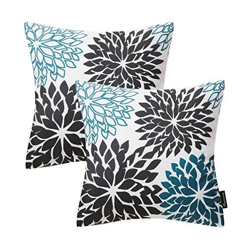 Phantoscope Set of 2 New Living Series Decorative Dahlia Black and Blue Throw Pillow Case Cushion Cover 18 x 18 45cm x 45cm