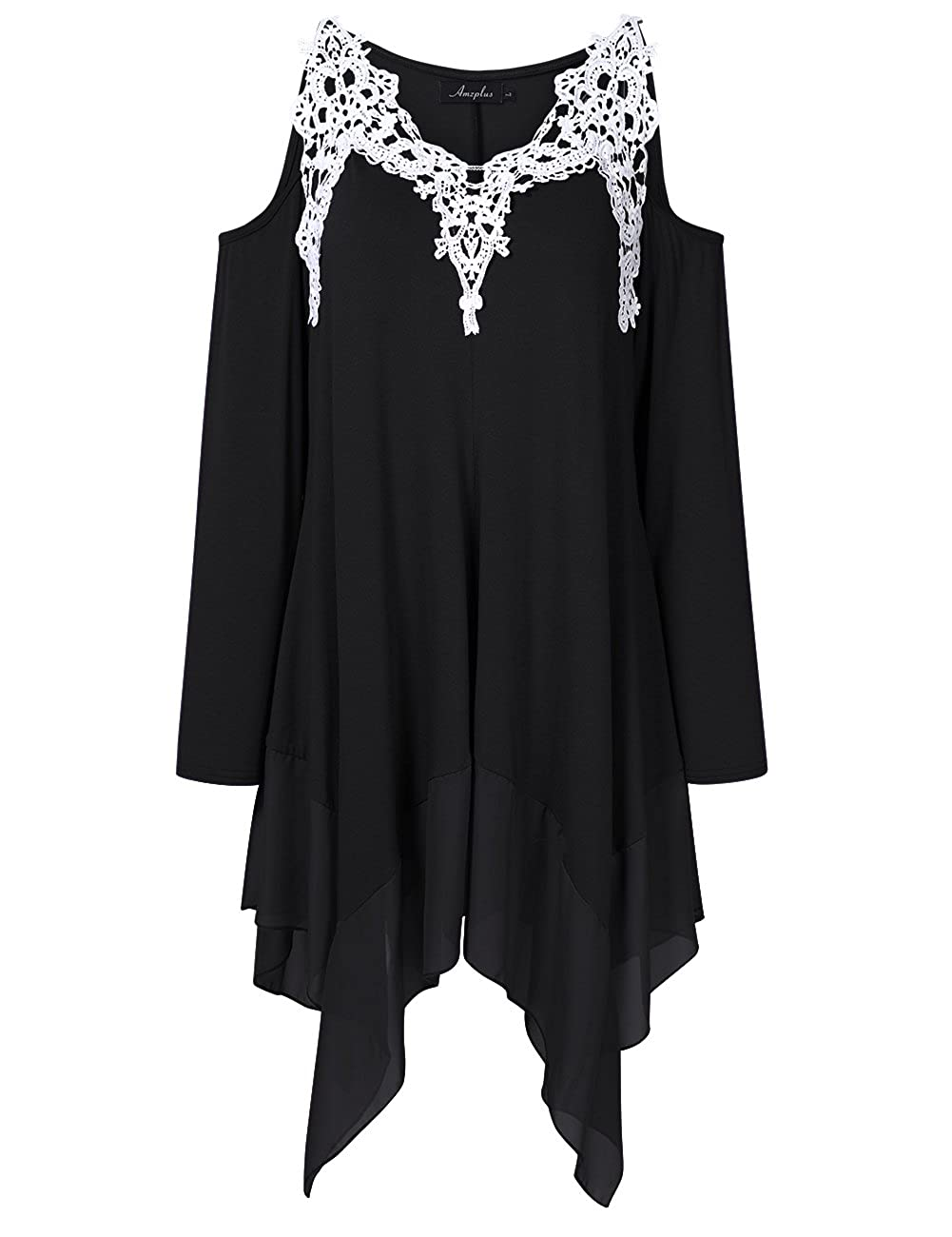 ec6ee1e92f4 XL-5XL big size top features crochet lace v neckline, open cut out cold  shoulder long sleeve, pleated irregular chiffon patchwork hemline.