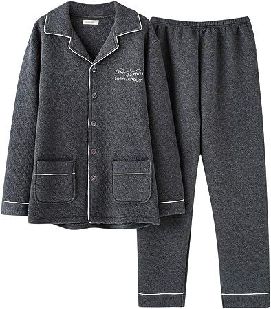 Conjunto de Pijamas para Hombre, Camisa de Manga Larga con Botones, Pijama de algodón, Conjunto de Servicio a Domicilio de Manga Larga (Color : 1, Size : XXXL): Amazon.es: Hogar